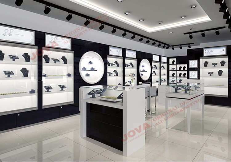 Tempered Glass Jewelry Display Furniture Indian Jewellery Showroom