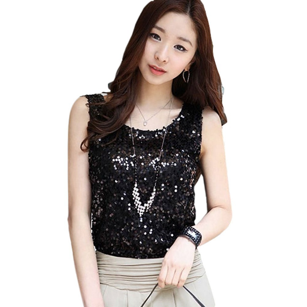 776b54bb53fc5b Get Quotations · Summer New Women Sleeveless T Shirts Ladies Sparkling  Bling Sequin Tank Tops Plus Size Female Blouse