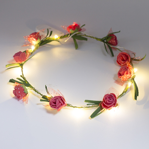 China Birthday Party Items Wholesale Wedding LED Flower Lei ,Flashing Flower Headband
