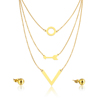 Gold Plated Arrow Hot Sale Layered Necklace Wholesale Women Style Jewelry Set