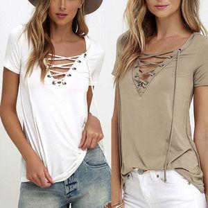 7a30771b07f Ebay Amazon Hot 2018 Summer Chiffon Blouse Lace Up V Neck Ruffles Casual  Plus Size Blusa