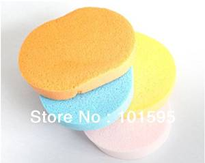 Ascentan(TM)10pcs/lot Natural seaweed cleansing flutter wash puff facial cleansing sponge cleansing makeup remover cleansing cotton pad