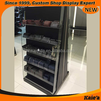 Fashion Belt And Wallet Floor Standing Retail Wooden Display Unit