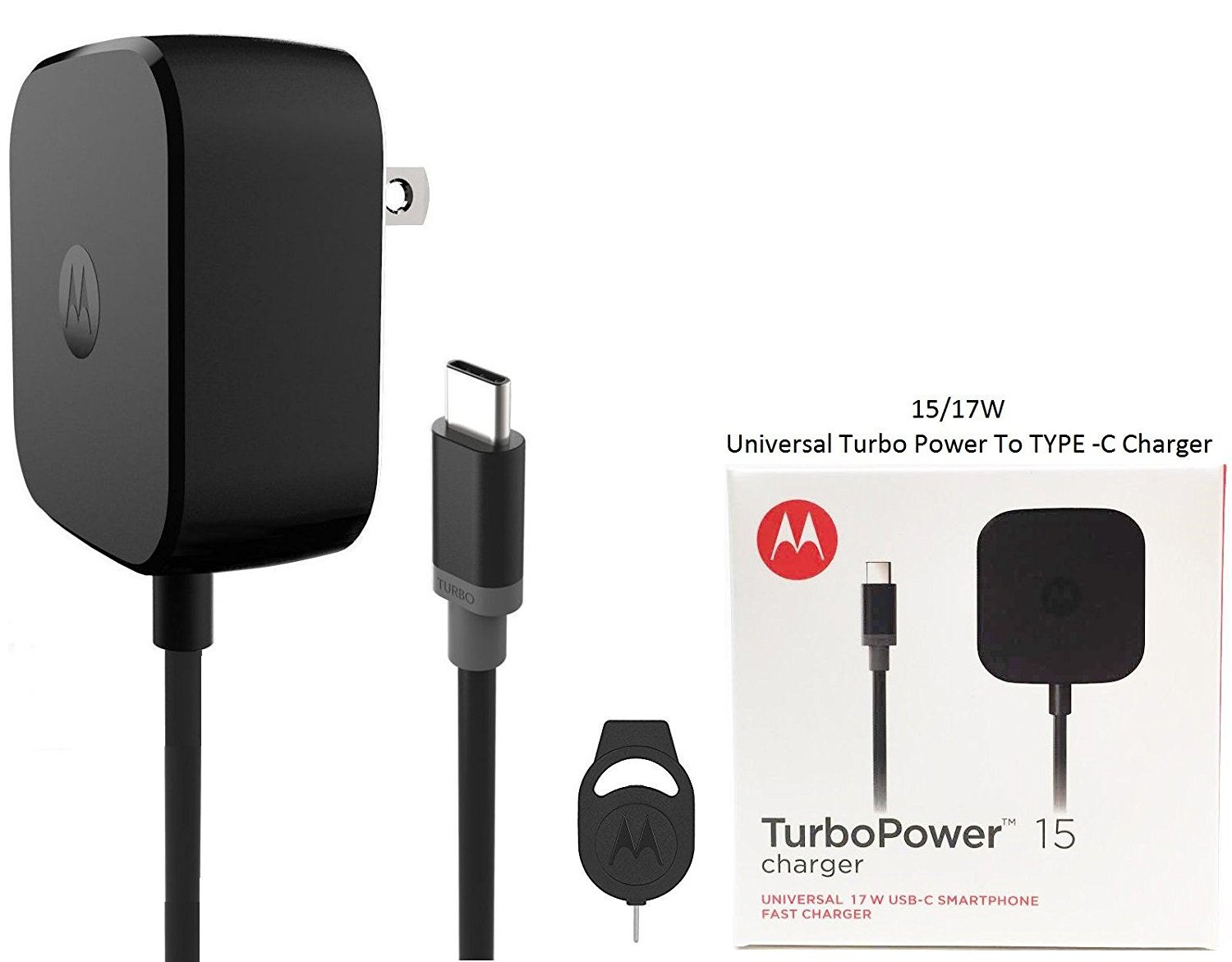 Motorola TurboPower TYPE C Fast Charger 15/17W & Moto SIM Ejector - For Moto Z Force/Z Droid/Z Play - (Retail Packing)