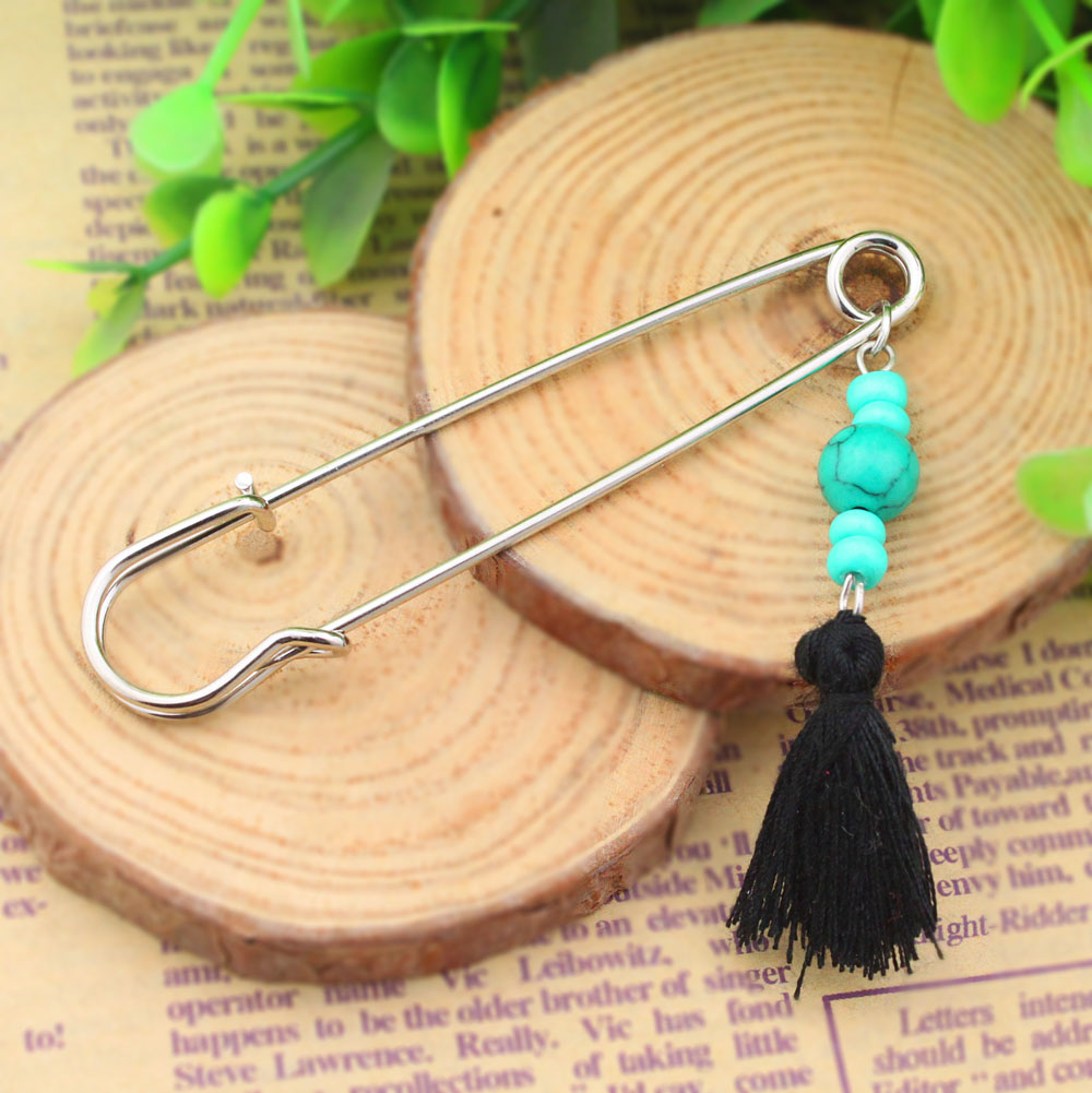 P001-043 new fashion accessories latest girls feather scarf jewelry safety pins