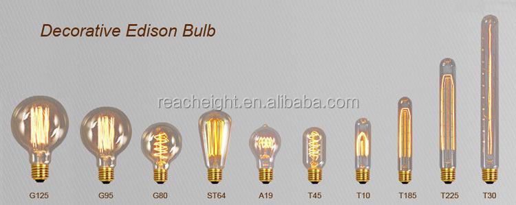 Antique Edison Style Light Bulb G125 Spiral Carbon Bulb Filament ...