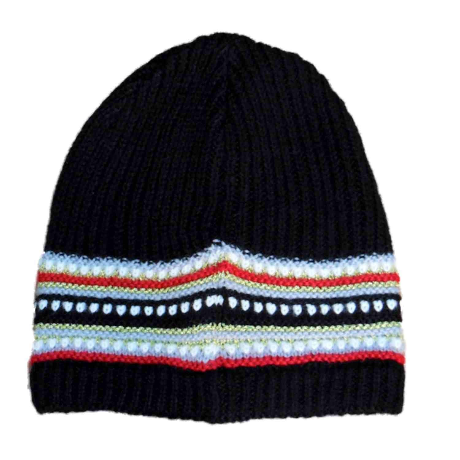 6d8a8ad526f1b Get Quotations · Fownes Womens Black   Red Stripe Knit Beanie Winter  Stocking Cap Hat