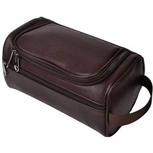 Herun PU Leather Travel Toiletry Bags Mens Ladies Supply wash bag for sale