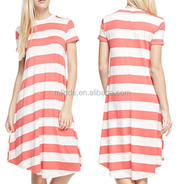 Comfortable Stretch-Blend Dress Relaxed Fit Cool Short Sleeve Cut Summer Stripe Plus T-Shirt Dress For Warm Weather