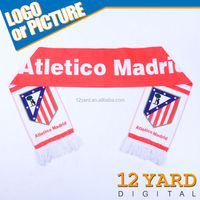 100 Polyester printed sport Atletico Madrid football fans scarf shawl for sport soccer men's neckwear