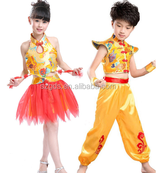In stock chinese national dance costume boys / girls dance costume Stomachers hip hop latin dance costume 2015