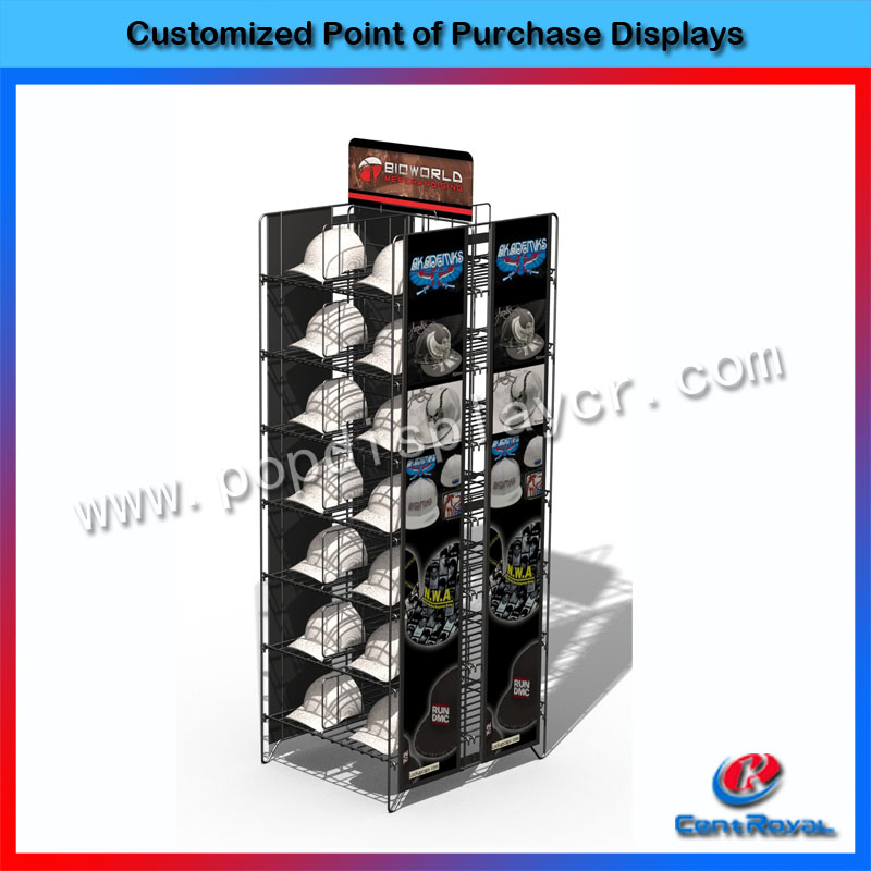 New arrival hot sale floor standing double sides hat display rack for retail store