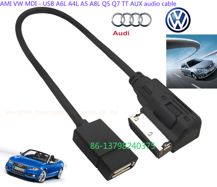 Car Audio Stereo Usb Cable For Audi A3 A4 A5 A6 A7 A8 Q5 Q7 R8 Tt Music  Interface Ami Mmi Aux Cable - Buy For Ami Audio Cable,Ami-mini-usb  Cable,Ami
