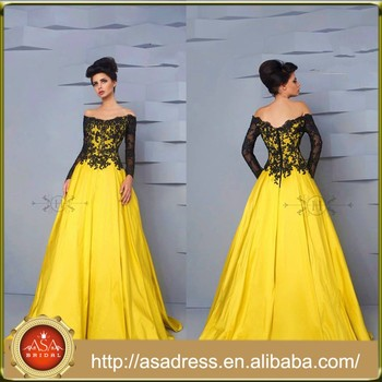 aec08e49f09d HTJ24 Sexy unique elegant Lebanon maxi evening Gowns Black Lace Ball Gown  Yellow off-shoulder