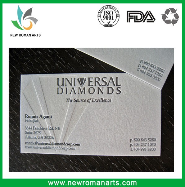 Customized embossed paper business cards with good price