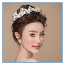 Diamond ornaments handmade lace fabric soft crown bride wedding accessories tiaras