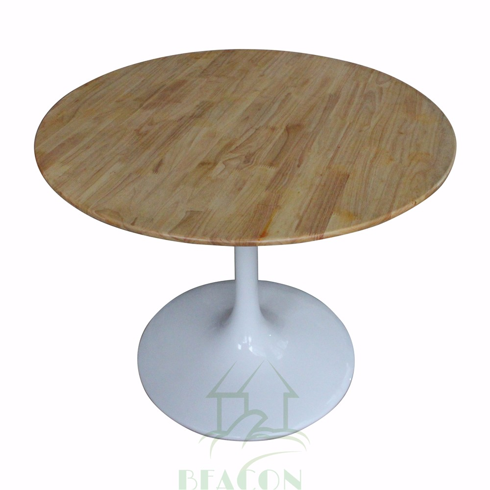 Wooden Round Tulip Table With Natural Color Wooded Table Top