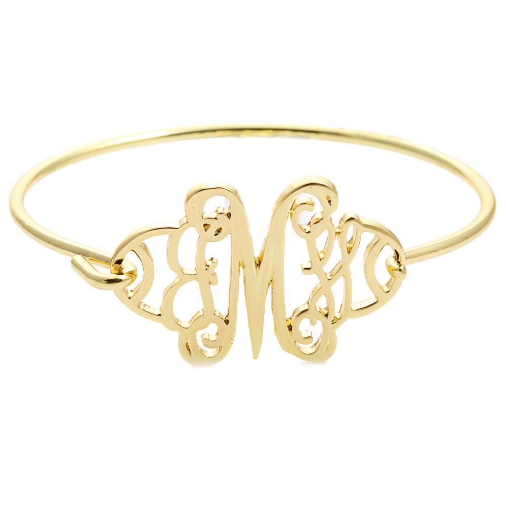 Latest Design 18k Gold M Alphabet Letter Bracelet Vogue Jewellery Daily Wear Bangle