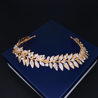 Hot sale gold leaves headwrap wedding hair flower garland bridal hair accessories party headband women