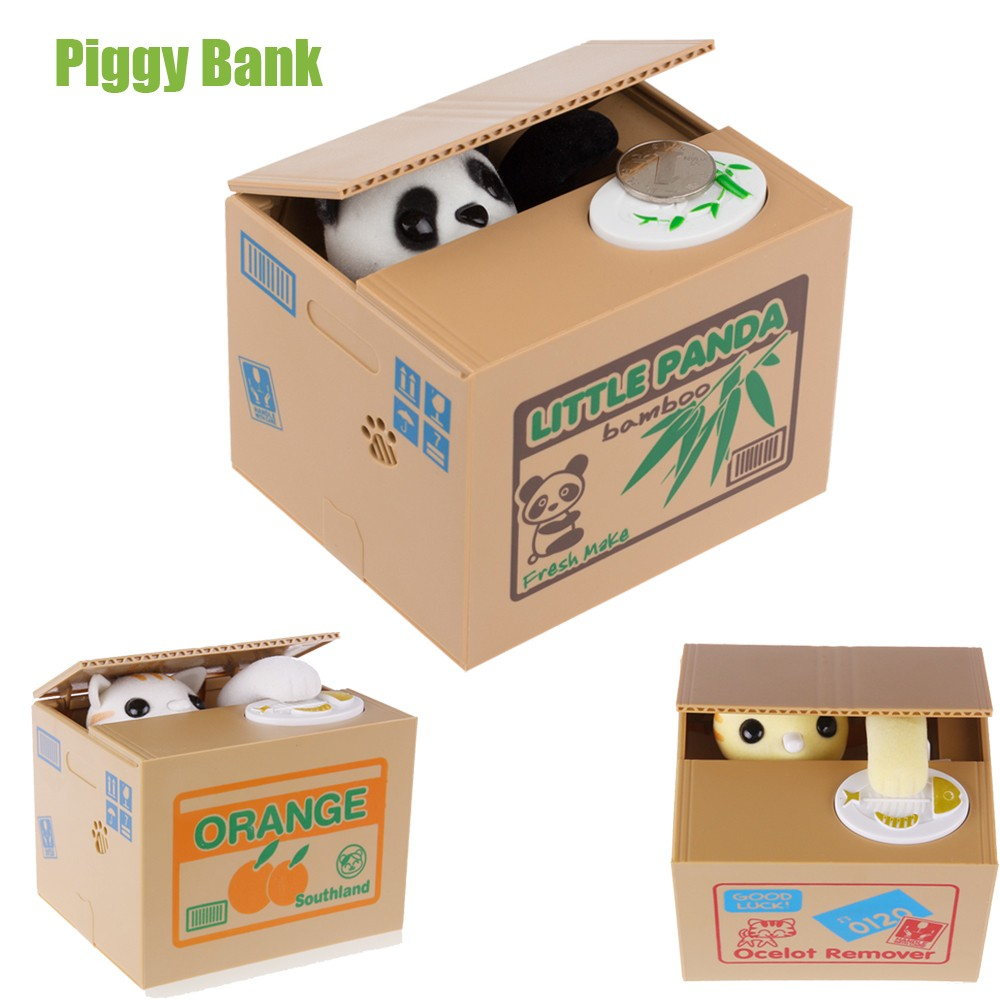 Hot selling cute coin stealing cat money box speak cat steal money box mischief saving box toys supplier
