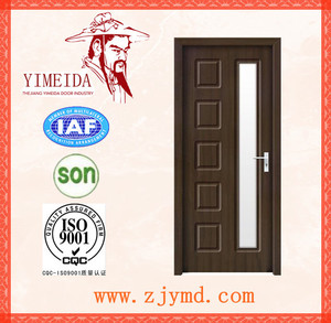 Armored PVC Wood Glass Door Price YMD-056