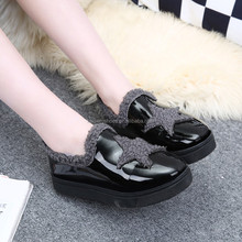 MN16120511 lady warm winter round toe flat shoe patent leather shoe casual shoe