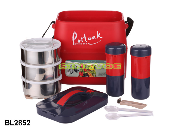 3.6L color potluck lunch box with water jug food storage portable lunch box