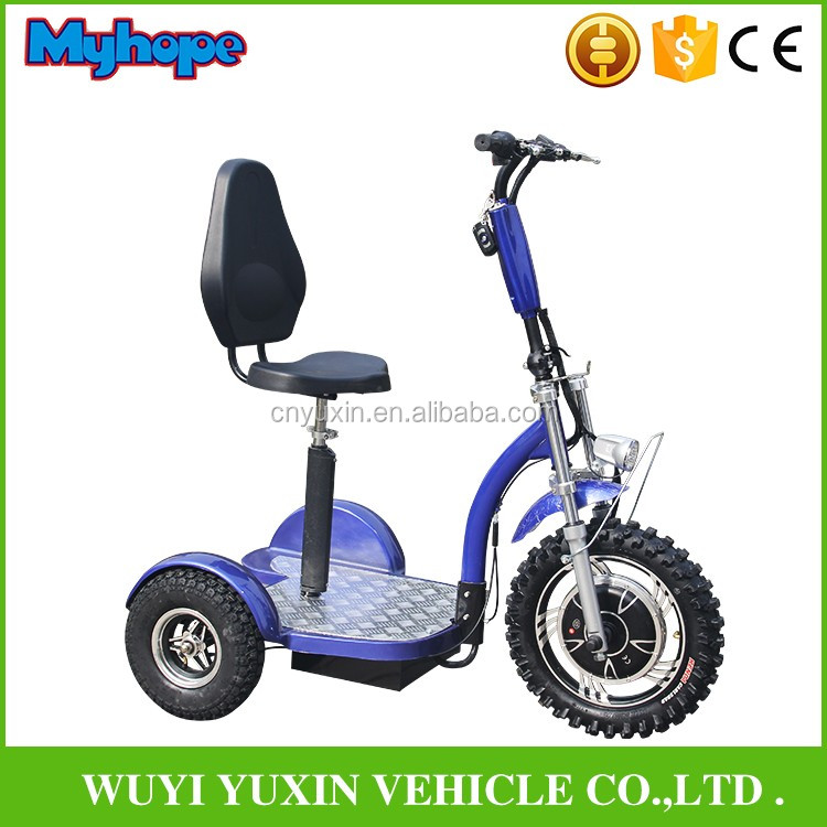 2017NEW 800W48V20Ah lithium bigger wheel three wheel electric scooter with backrest with CE/Rohs YXEB-712