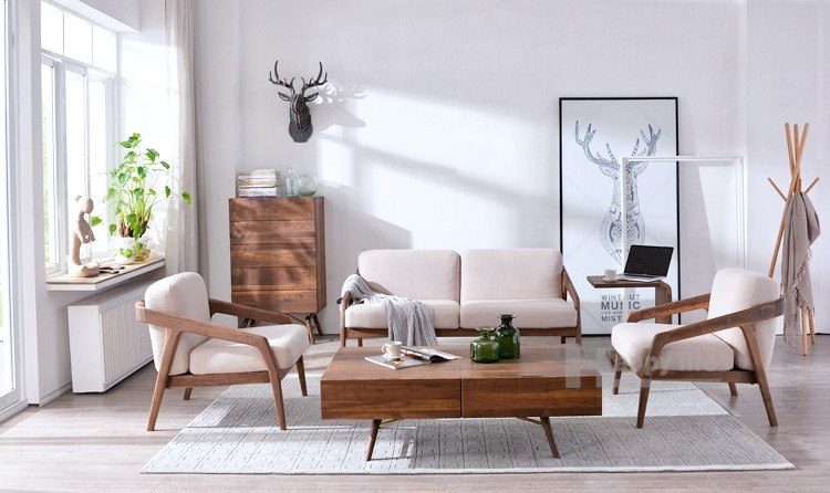 2016 Scandinavian Living Room Furniture Fabric Single Seater Wood Sofa Chairs