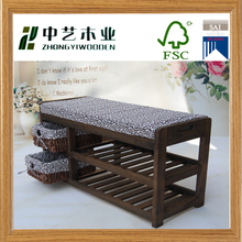 Eco friendly unique bamboo/wood shoe rack Bamboo Storage Bench with seat