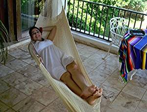 Sunnydaze Mayan Hammock Portable Hand-Woven, Single Size, 330 Pound Capacity, Natural