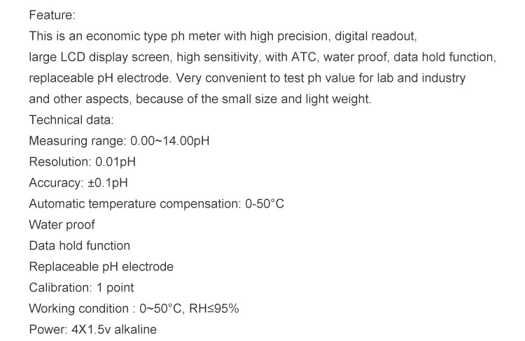 SINOTESTER High accuracy waterproof hand held digital ATC data hold function chemical ph meter