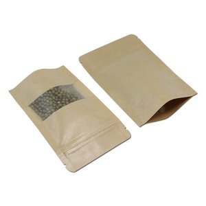 "Eco Paper Zip Bag Standing Food Grade Bio Copious Bags 5"" x 8"" Kraft Window Stand Up Pouches (4 oz. 