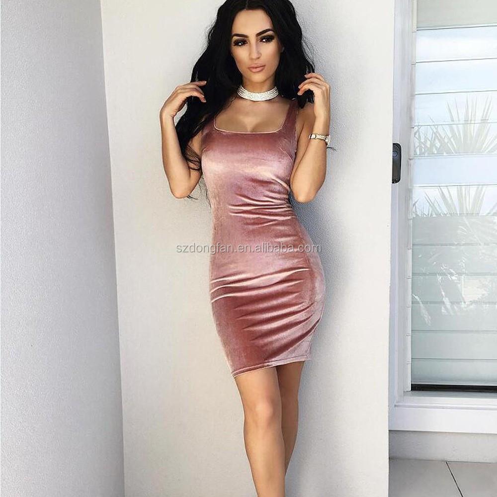 f846fd3619bb6 2017 ropa mujer rosa terciopelo partido mini vestido señora del diseño