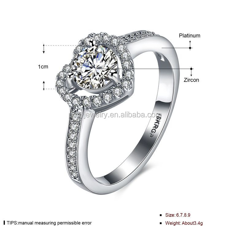 2020 New Valentine's Day Gift Rhodium Plated Cubic Zirconia CZ Diamond Heart Shaped Wedding Engagement Ring