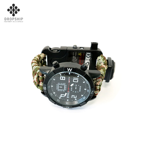 Dropship DS-SG1011 paracord bracelet style watch strap Emergency Fire Starter whistle with compass
