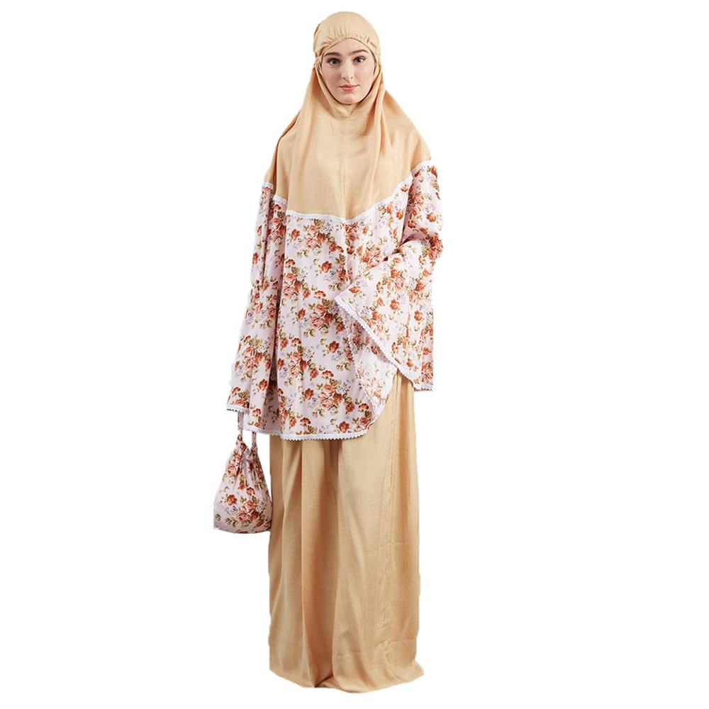 New beautiful floral print butterfly women abaya with white lace decoration for muslim prayer