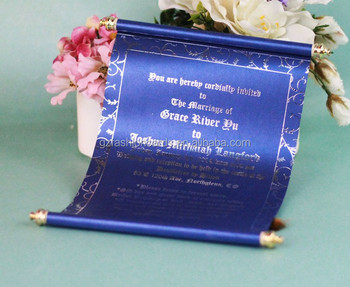 customized nice foil words on royal blue scroll wedding invitation card