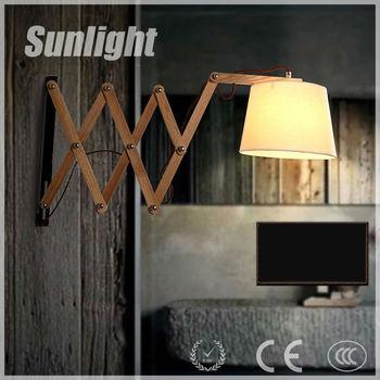 Amerikaanse Moderne Industriële Flexibele Vintage Houten Wandlamp ...