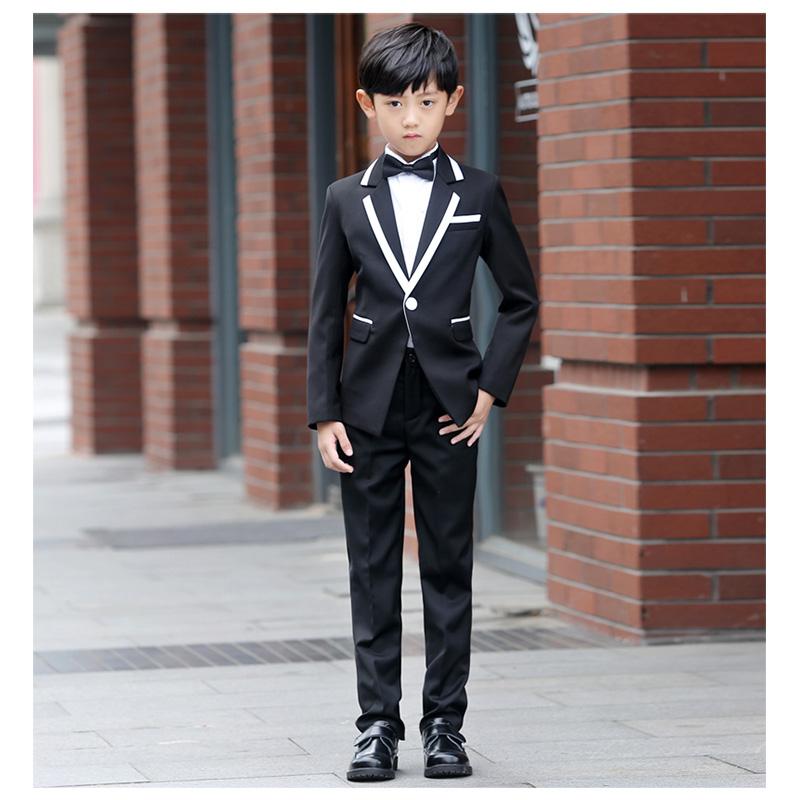 Korean Style Children Plaid Tuxedo Suits Boys Autumn Wedding Suits ...