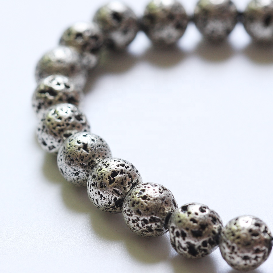 Wholesale Top grade natural gemstone round beads 6mm 8/10mmMetallic Lava Rock Stone - Oxidized Silver - Gold Colored Lava Stone