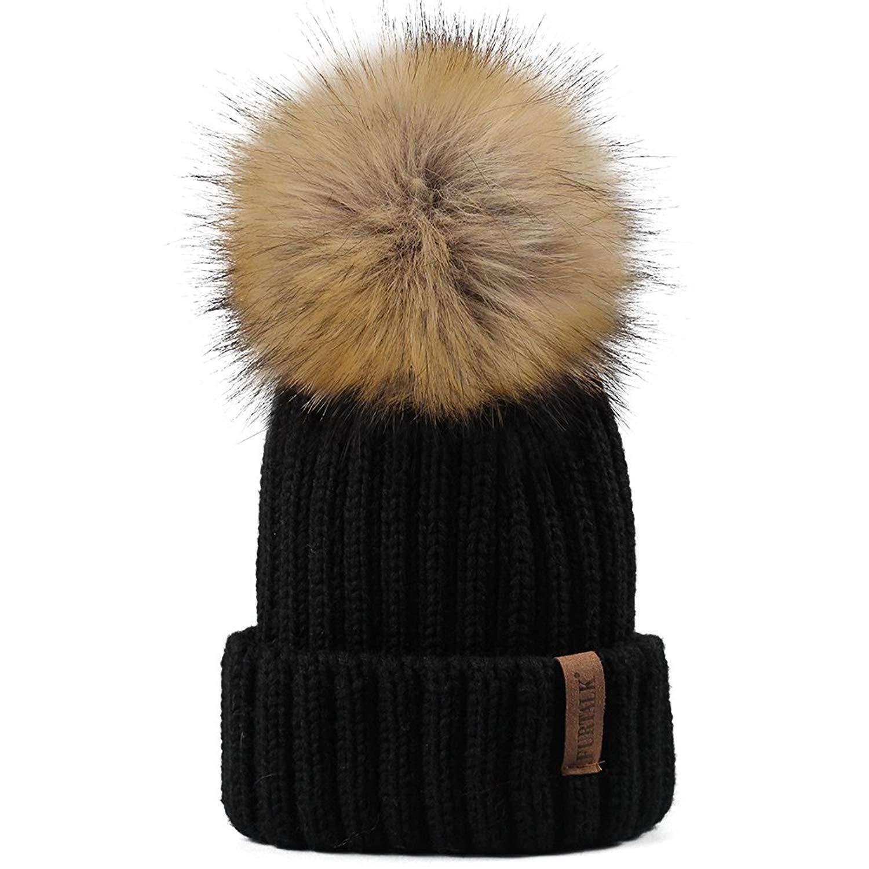 2e91e79c491 Get Quotations · FURTALK Kids Winter Knitted Pom Faux Fur Ball Pom Pom Cap  Kids Beanie Hat (Ages