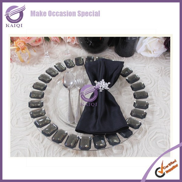 #17880 Wholesale fancy transparent wedding decor glass charger <strong>plates</strong>
