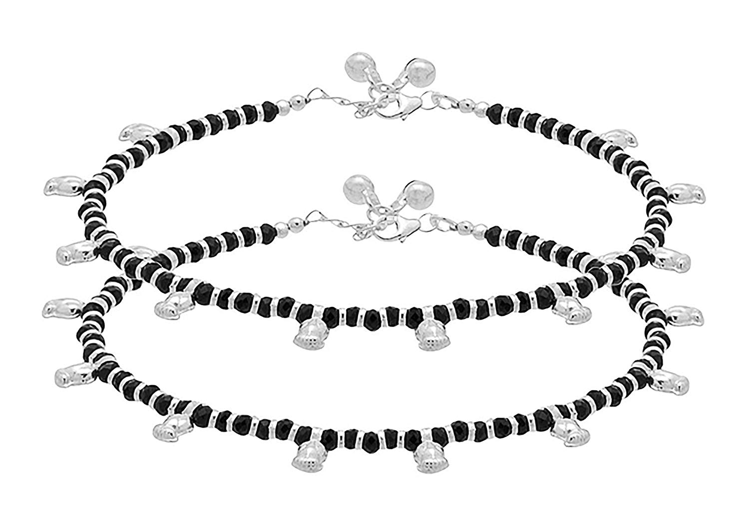 D&D Crafts STERLING SILVER BLACK BEADS ADORNED ANKLETS For Women, Girls