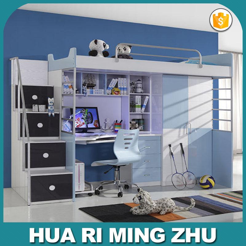 Ni os litera cama con escritorio y armario y escaleras conjuntos de muebles para ni os - Cama con escritorio abajo ...
