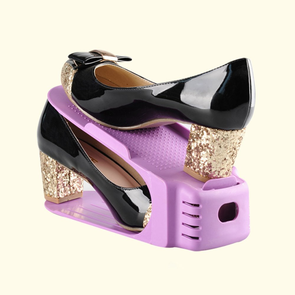 2 Packs Colorful Plastic Shoes Storage Rack One-piece Shoes Organizer Shelf Living Room Fashion Women High-heeled Shoes Rack Holder