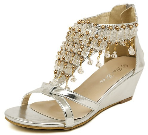2015 Hot Women Summer Wedges Crystal T-strap Open Toe High Quality Handmade Sandal String Bead Tassel Back Zip Ladies Rome Shoes