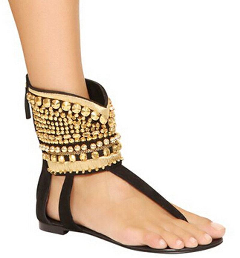 0b0939b9eb60 Get Quotations · new fashion gold rivets studded ankle wrap sandals flip  flop flat beach flat sandal shoes