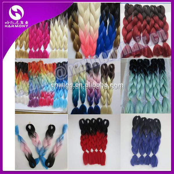 8 Packs Black+fuschia ) Stock Ombre Mix Color Synthetic Hair/ombre ...