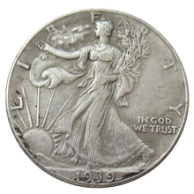 USA 1939 Walking Liberty Half Dollar Verzilverd Reproductie Decoratieve Herdenkingsmunt Custom Munten
